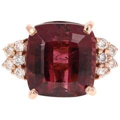 9.44 Carat Tourmaline Diamond Rose Gold Cocktail Ring