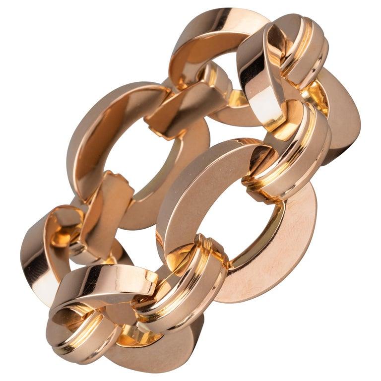 Retro Clerc Paris French Vintage Gold Bracelet  For Sale
