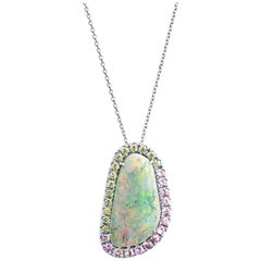 9.45ct Australian Grey Opal, 1.20ct Green/Pink Sapphire Pendant, 18kt White Gold