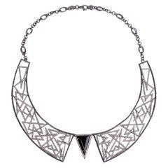 9.47 Carat Diamond Onyx Abstract Statement Necklace