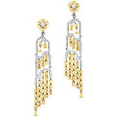 9.47 Carat Total in White and Yellow Diamonds, Waterfall Earrings