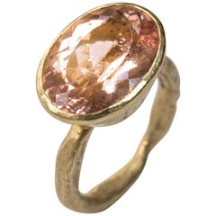 9.49 Carat Rose Morganite 18 Karat Gold Ring Handmade by Disa Allsopp
