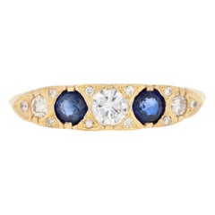 .94ctw Round Cut Sapphire & Diamond Ring, 18k Yellow Gold Women's