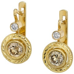 Champagne Diamond Yellow Gold Lever Back Engraved Bezel Set Drop Earrings