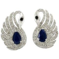 .95 Carat Blue Sapphire Diamond Swan Stud Earrings