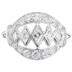 .95 Carat Diamond Open Work White Gold Dome Ring