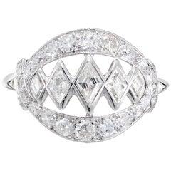 .95 Carat Diamond Open Work White Gold Dome Ring