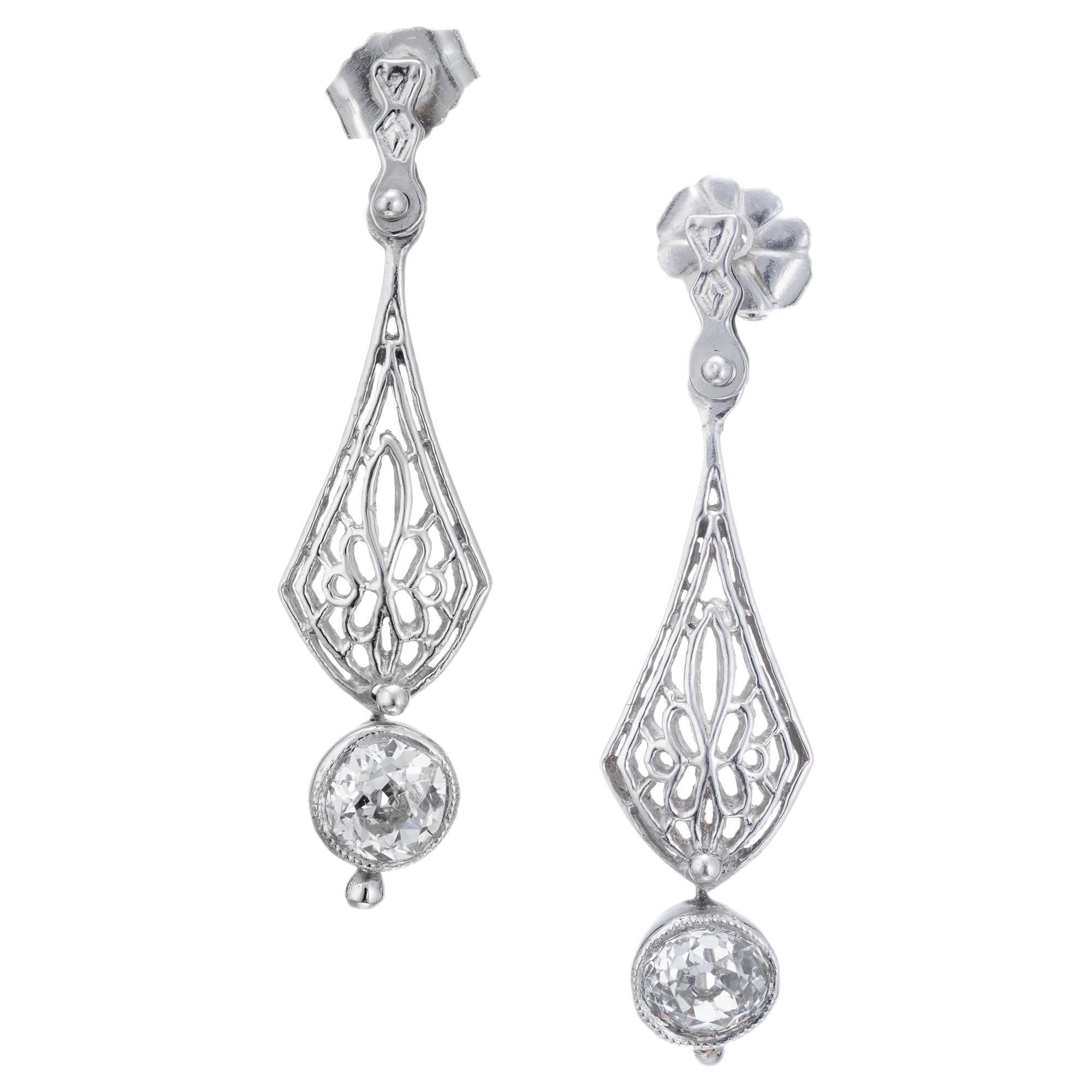 .95 Carat Diamond Platinum Art Deco Edwardian Dangle Earrings