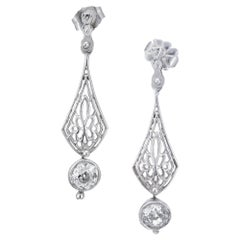 .95 Carat Diamond Platinum Art Deco Edwardian Dangle Earrings