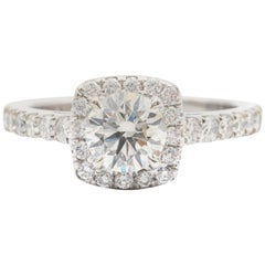 .95 Carat J VS2 Round Brilliant Halo Engagement Ring in Platinum