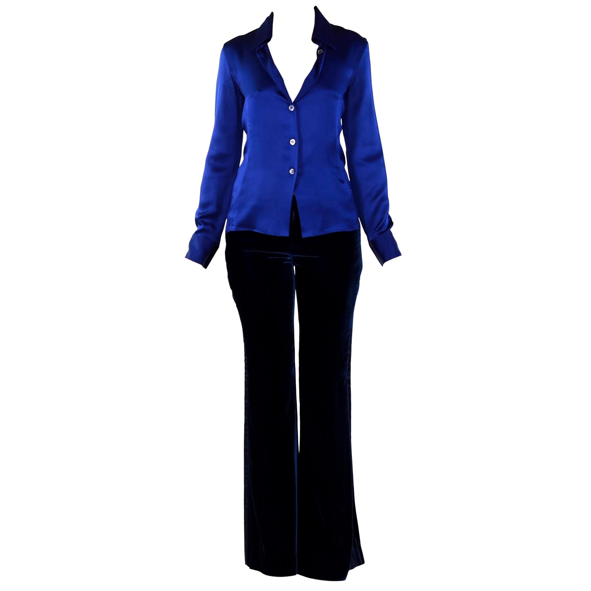 '95 VINTAGE TOM FORD for GUCCI SILK SHIRT + '04 VELVET PANT as seen Sep InStyle