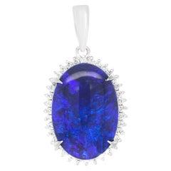 9.50 Carat Blue Opal and Diamond Pendant Platinum
