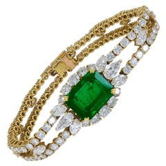 Andre Vassort 9.50 Carat Emerald and Diamond Bracelet
