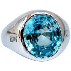 9.50 Carat Natural Blue Topaz Diamond Unisex Ring Masculine Prime