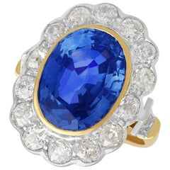 9.50 Carat Sapphire and 2.50 Carat Diamond Yellow Gold Cluster Ring