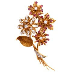 !950s Retro Diamond Ruby Floral Bouquet 18 Karat Brooch Pin