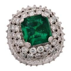 9.51 Carat Emerald and Diamond Ring
