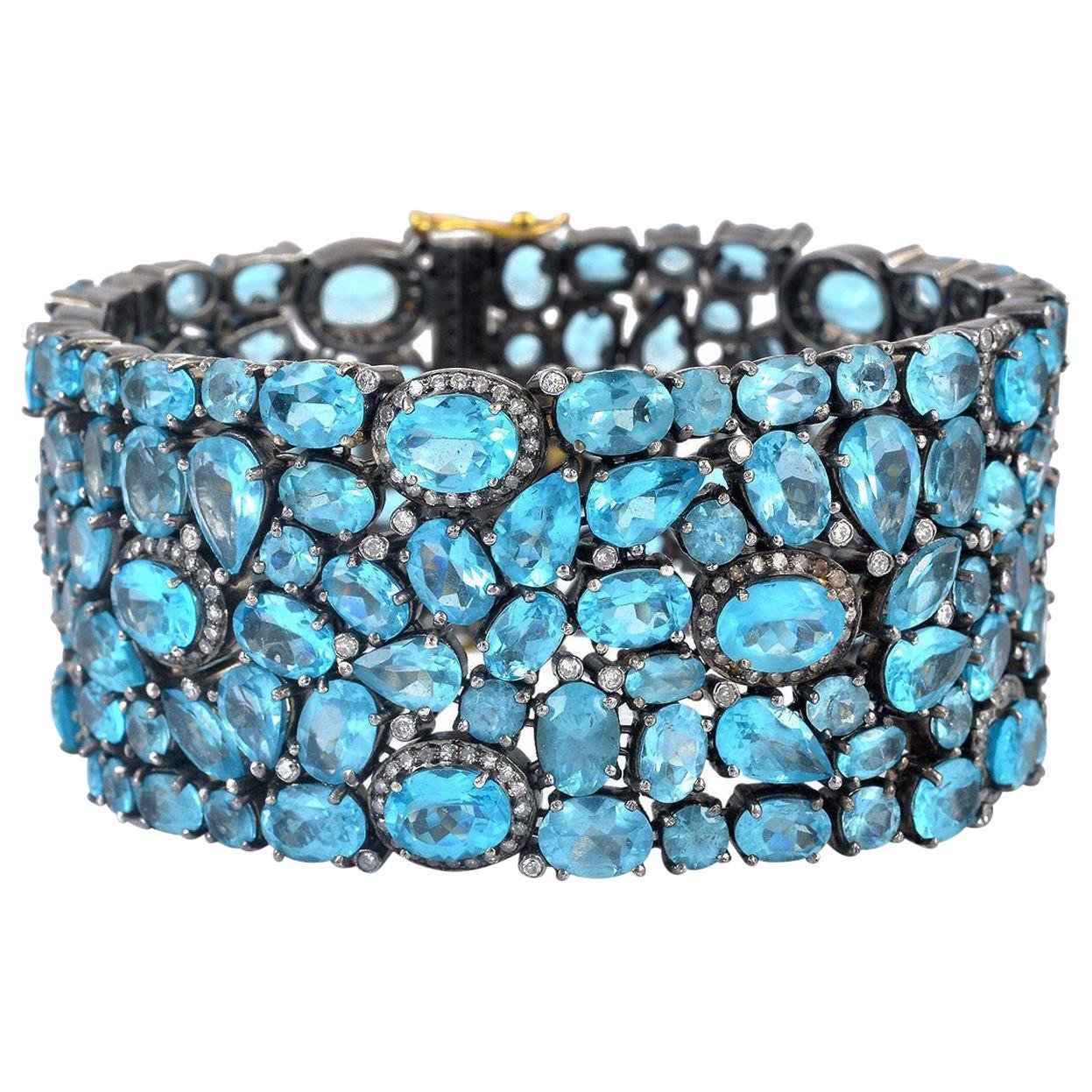95.1 Carat Apatite Diamond Bracelet