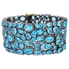 95.1 Carat Rare Apatite Diamond Bracelet