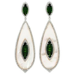9.52 Carat Chrome Diopside Mother of Pearl Diamond 18 Karat Gold Earrings