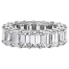 Roman Malakov, 9.52 Carat Emerald Cut Diamond Eternity Wedding Band