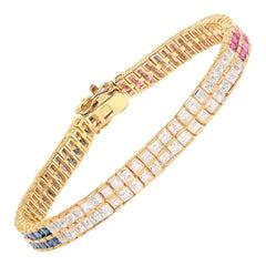 9.52 Carat Genuine Multi Sapphire .925 Sterling Silver Bracelet