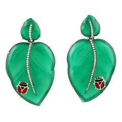 95.24 Carat Green Onyx Leaf Beetle 18 Karat Gold Diamond Earrings