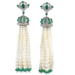 9.53 Carat Emerald Diamond Pearl Tassel Earrings