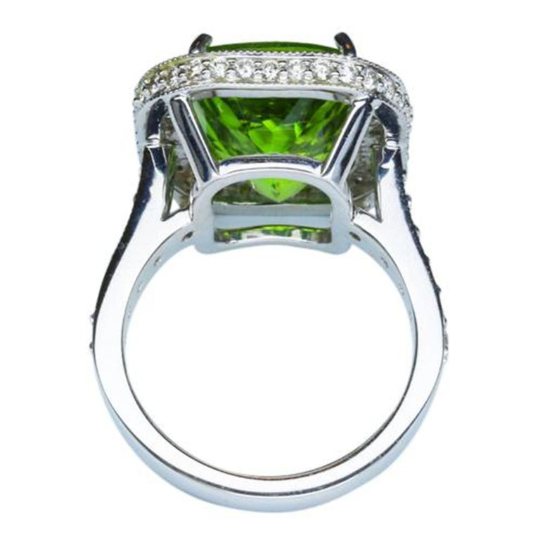 Contemporary 9.54 Carat Cushion Cut Peridot Diamond Gold Cocktail Ring Fine Estate Jewelry For Sale