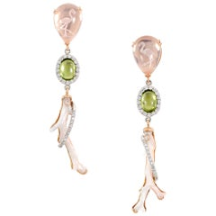 9.54 Carat Carved Rose Quartz, Angel Skin Coral, Peridot, and Diamond Earrings