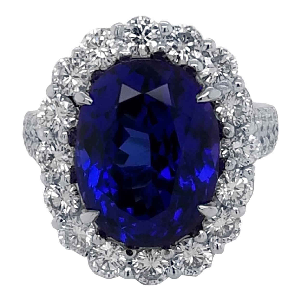 9.56 Carat Oval Shaped Tanzanite Split Shank Pave Set Engagement Ring with Halo