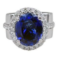 9.56 Carat Sapphire Diamond Halo 14 Karat White Gold Cocktail Engagement Ring
