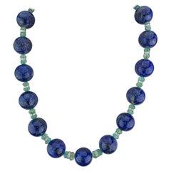 956.60 Carat Lapis Lazuli and Emerald Beaded Necklace