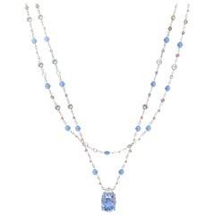 AGL Certified 34.35 Carats Ceylon Blue Cushion Cut Sapphire and Diamond Pendant