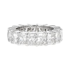 9.57 Carat Elongated Radiant Cut Diamond Eternity Band, F-G Color, VS-Si clarity