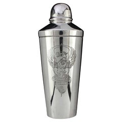 958 Britannia Silver Cocktail Shaker Decorated with Griffin Creature