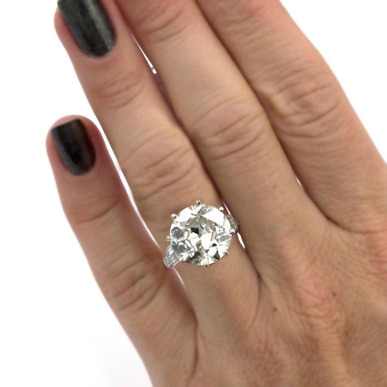 Women's 9.58 Carat Old European Cut Diamond Ring For Sale