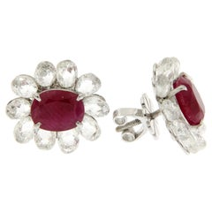 9.59 Carat Diamond Briolette and Ruby Stud Earrings in 18 Karat White Gold