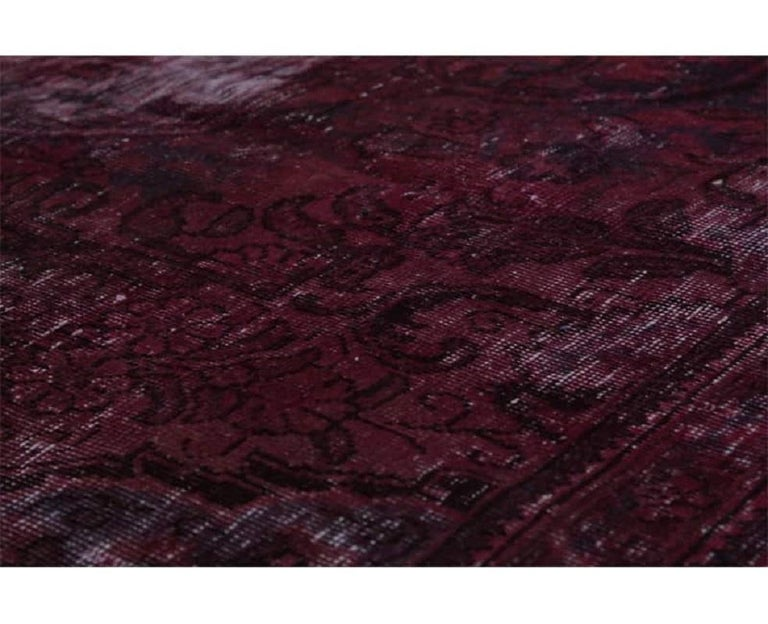 Vintage Distressed Overdyed Persian Rug For Sale 7