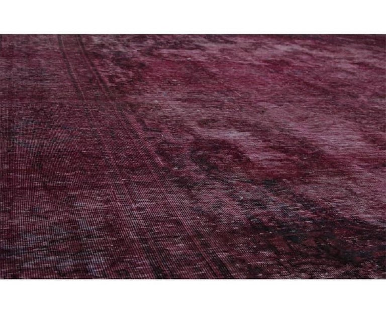 Vintage Distressed Overdyed Persian Rug For Sale 8