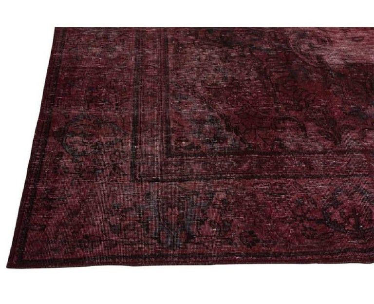 Vintage Distressed Overdyed Persian Rug For Sale 9