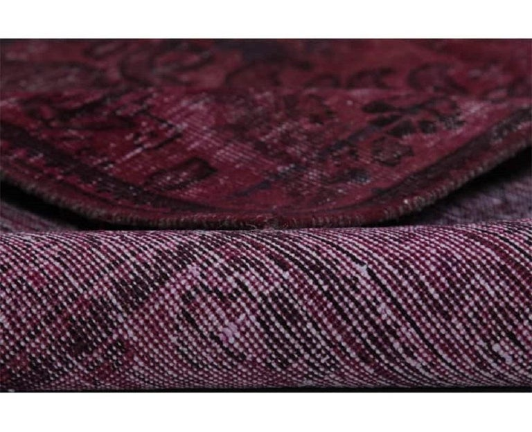 Vintage distressed overdyed Persian rug from RenCollection Rugs – This vintage Persian rug has been repurposed through a distressing process and overdyed to achieve a single magenta color. Created by the artisans of Iran.  Estimated retail value