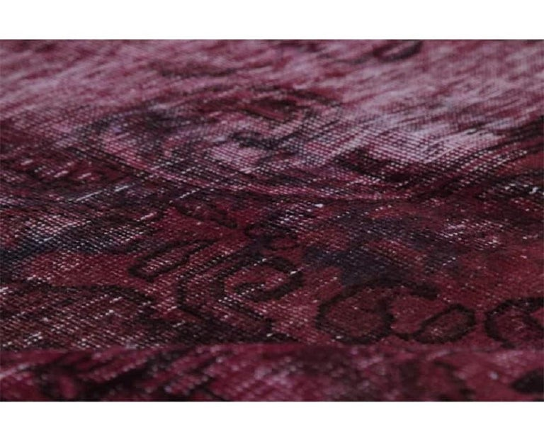Vintage Distressed Overdyed Persian Rug In Distressed Condition For Sale In Dallas, TX