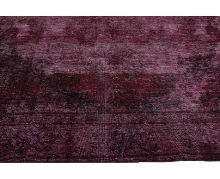 Vintage Distressed Overdyed Persian Rug For Sale 1