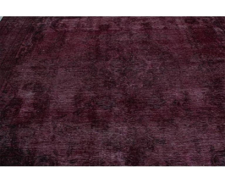 Vintage Distressed Overdyed Persian Rug For Sale 2