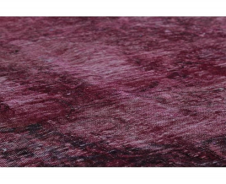 Vintage Distressed Overdyed Persian Rug For Sale 3