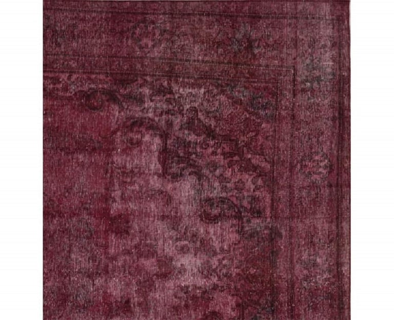 Vintage Distressed Overdyed Persian Rug For Sale 5