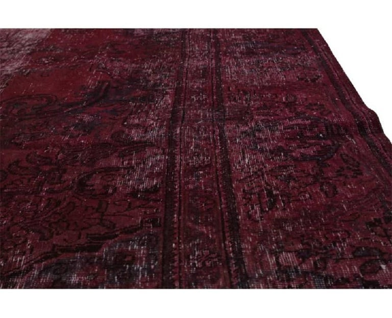 Vintage Distressed Overdyed Persian Rug For Sale 6