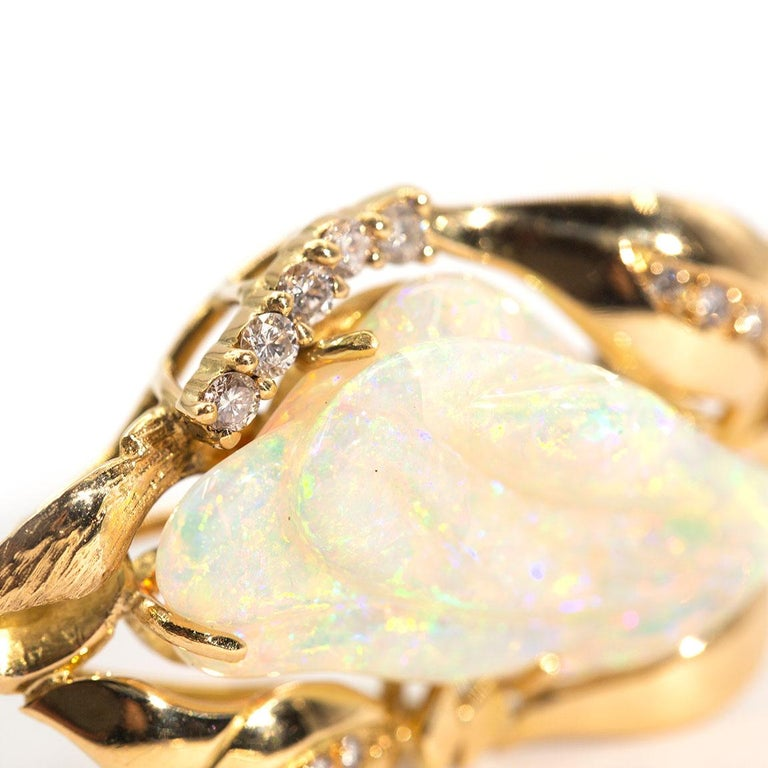 9.6 Carat Solid Australian Carved Opal and Diamond 18 Carat Gold Pendant Brooch For Sale 4