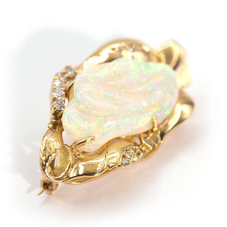 Modern 9.6 Carat Solid Australian Carved Opal and Diamond 18 Carat Gold Pendant Brooch For Sale